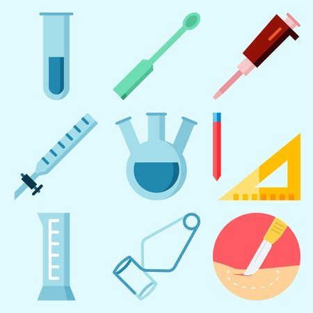 Icons set about Laboratory with cylinder, measuring, kipps apparatus, test tube, separator funnel and tube