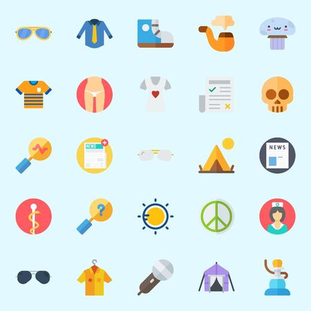 Icons set about Hippies with pacifism, search, skull, sneakers, pharmacy and nurse