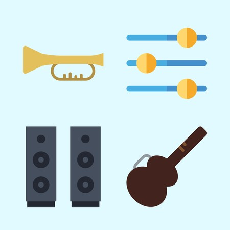 Icons set about Music with speaker, announcer, trumpet, guitar protector and levels Çizim