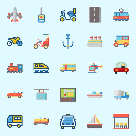 Icons about Transportation with tram, train, motorbike, sail boat, cable car and taxi Ilustracja