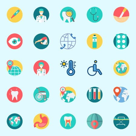 Icons set about Medical with tablets, water, location, yoga, wheelchair and worldwide