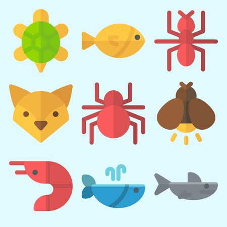 Icons set about Animals with shark, spider, fox, ant, prawn and whale Illustration