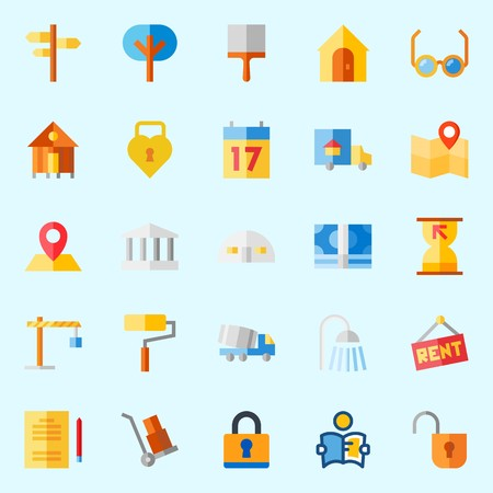 Icons about Real Assets with security system, trees, shower, seventeen, maps and flags and wheelbarrow