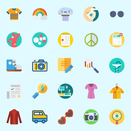 Icons set about Hippies with search, note, mushroom, rainbow, patient and van