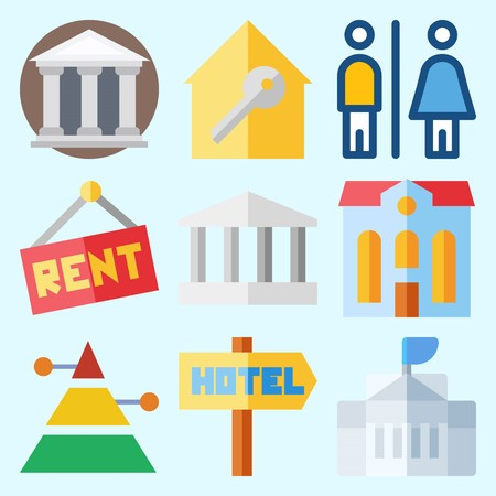 Icons set about Construction with white house, pyramid, museum, real estate, monumental and hotel