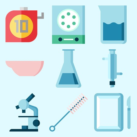 Icons set about Laboratory with beaker, surgery, lab, measuring, test tube and microscope