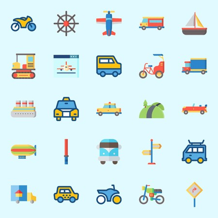 Icons about Transportation with road, zeppelin, road sing, sail boat, cruise ship and rudder Stok Fotoğraf - 95069895