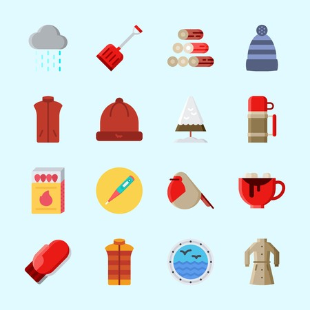 Icons about Winter with thermo, rain, hot chocolate, winter coat, coat and mitten 向量圖像