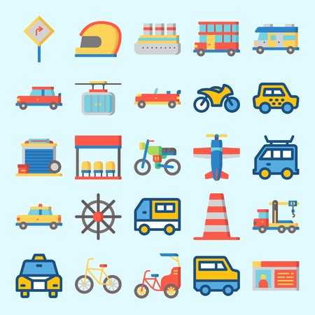 Icons set about Transportation with road sing, bicycle, bus, helmet, crane and cruise ship Ilustração