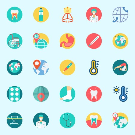 Icons set about Medical with tablets, tooth, mystical, stethoscope, worldwide and teeth