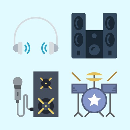 Icons set about Music with speaker, microphone, sound system, announcer, drum set and headphone