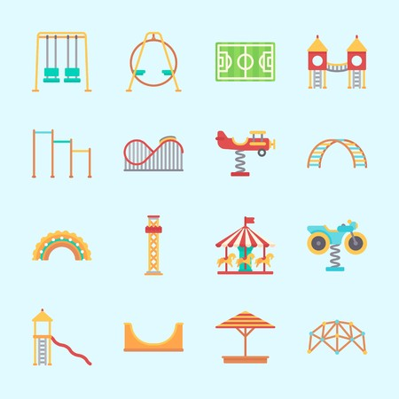 Icons about Amusement Park with swings, horizontal bar, slide, flambards experience, horse carousel and swing