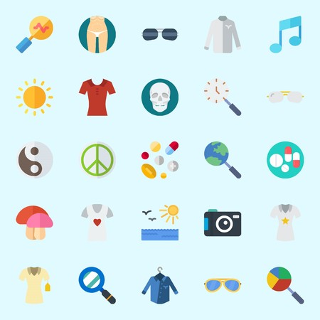 Icons set about Hippies with search, sunglasses, skull, sun, yin-yang and pills