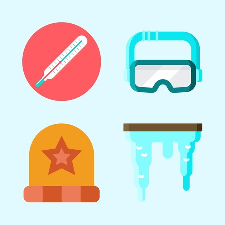 Icons set about Winter with thermometer, goggles, winter hat and icicle