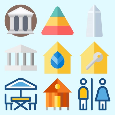Icons set about Construction with toilet, washington monument, monumental, pyramid, terrace and rent