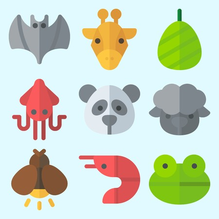 Icons set about Animals with panda, frog, cocoon, bat, sheep and prawn
