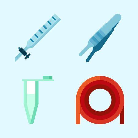 Icons set about Laboratory with laboratory, kipps apparatus, lab and dropping liquid Çizim