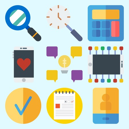 Icons set about Business with calculator, idea, note, checked, search and smartphone