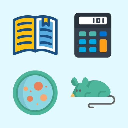 Icons about Science with mouse, petri dish, calculator and open book Stock Illustratie