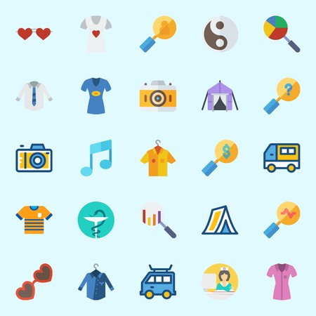 Icons set about Hippies with tent, yin-yang, photo camera, nurse, search and car