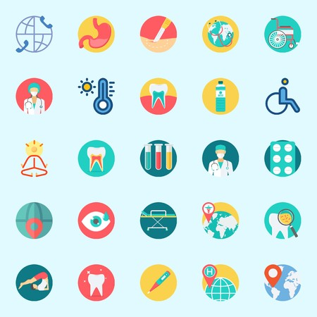 Icons set about Medical with visibility, thermometer, teeth, location, tooth and mystical