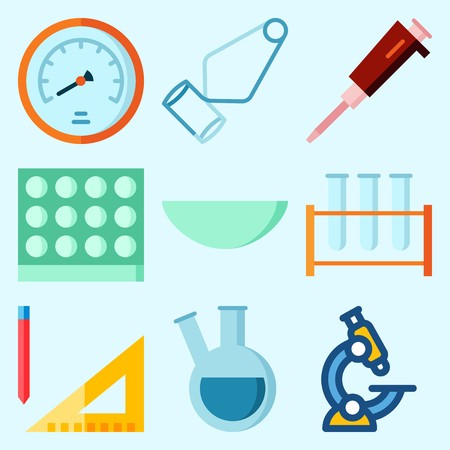 Icons set about Laboratory with watch glass, measuring, condenser, velocity, lab and flask