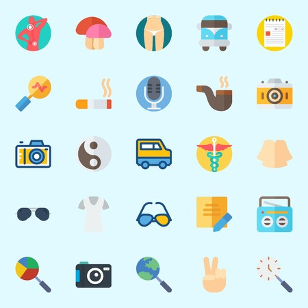 Icons set about Hippies with photo camera, mushroom, pharmacy, pipe, cigarete and note
