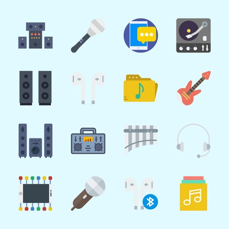 Icons about Music with music folder, music album, radio, earphone, headphone and smartphone