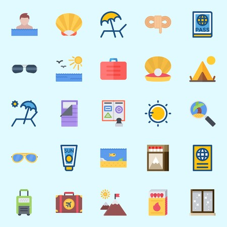 Icons set about Beach And Camping with matches, tour, sunglasses, window, shell and sun cream Illustration