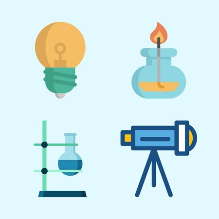 Icons about Science with burner, telescope, flask and light bulb