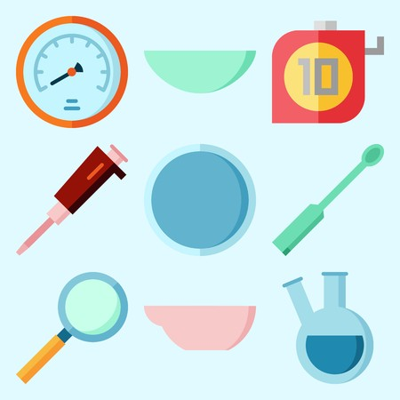 Icons set about Laboratory with flask, loupe, measuring, watch glass, condenser and ladle