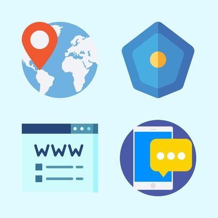 Icons set about Seo with worldwide, location, domain registration, shield and smartphone