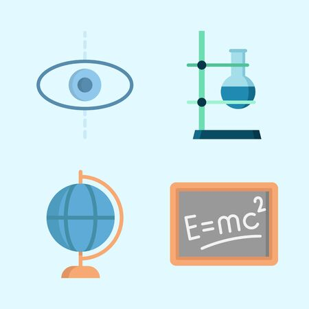 Icons about Science with blackboard, earth globe, planet and flask