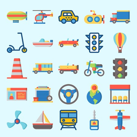 Icons set about Transportation with hot air balloon, motorbike, bus, train, car key and bus stop Illustration