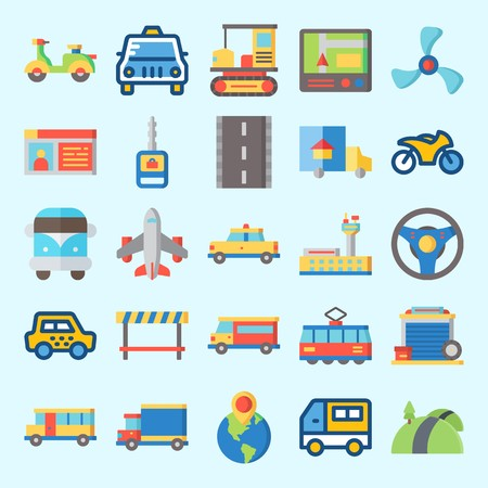 Icons set about Transportation with bus, driving license, tram, car key, truck and destination