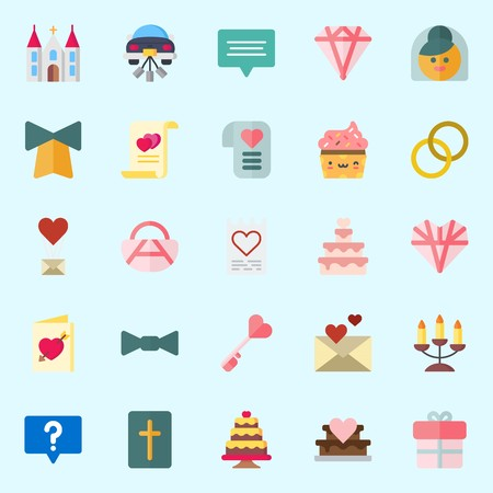 Icons about Wedding with love, wedding rings, bible, wedding cake, love letter and wedding car