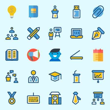 Icons set about School And Education with idea, user, laptop, tie, utensils and notebook
