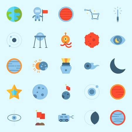 Icons set about Universe with flag, venus, neptune, observation, planet and earth