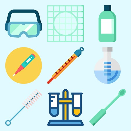 Icons set about Laboratory with ladle, jar, thermometer, lab, secure glasses and test tube