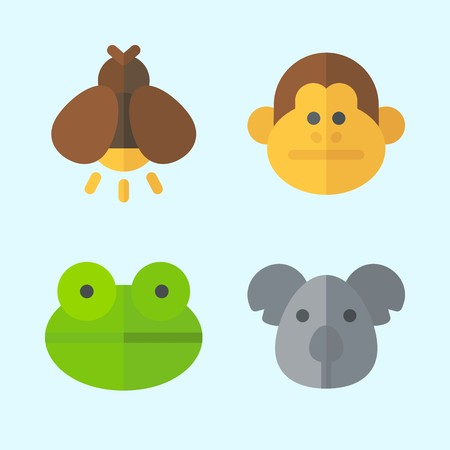Icons set about Animals with firefly, koala, frog and monkey