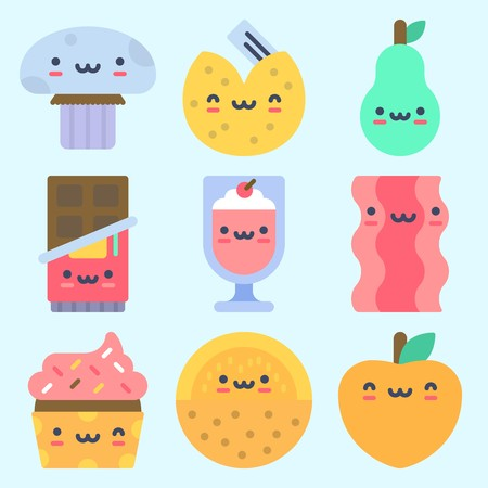 Icons set about Food with fortune cookie, melon, mushroom, cupcake, peach and chocolate