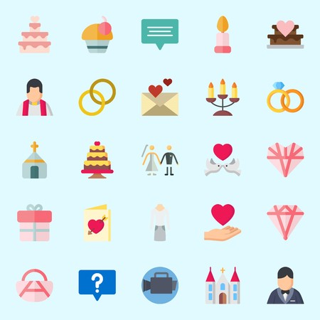 Icons set about Wedding with wedding rings, couple, candle, groom, bride and suit Illustration