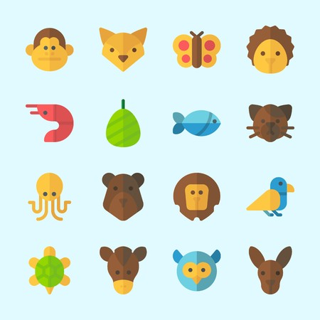 Icons about Animals with bird, fox, horse, monkey, bear and prawn