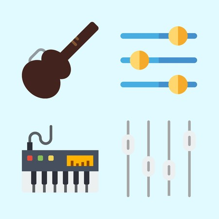 Icons set about Music with guitar protector, levels and piano