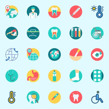 Icons set about Medical with sprain, stomach, wheelchair, teeth, test tubes and stethoscope
