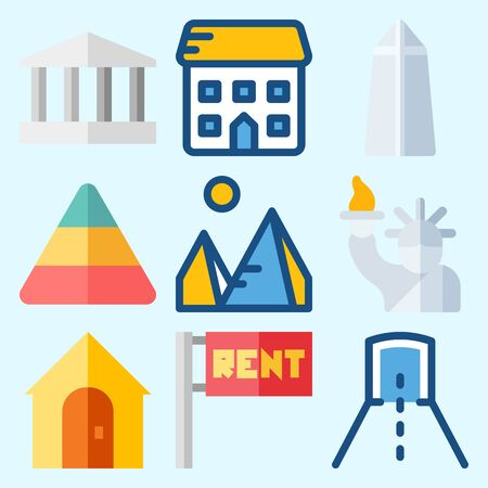 Icons set about Construction with tunnel, monumental, pyramid, pyramids, for rent and real estate