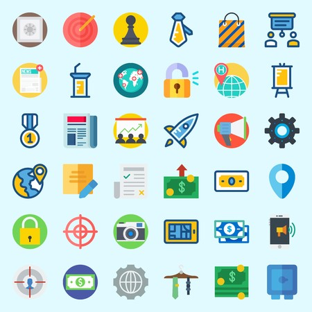 Icons about Digital Marketing with settings, padlock, smartphone, worldwide, pawn and location Ilustração