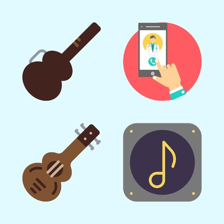 Icons set about Music with music file, smartphone, spanish guitar, guitar protector and guitar