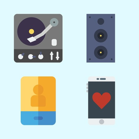 Icons set about Music with turntable, announcer, speaker and smartphone