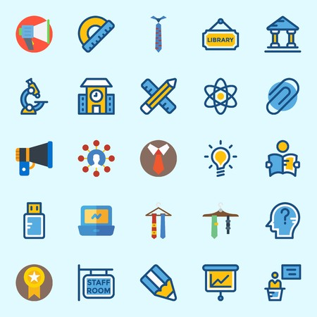 Icons set about School And Education with tie, library, idea, pencil, presentation and utensils